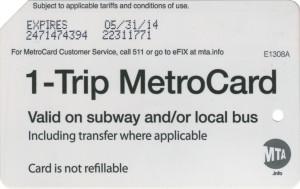 1 Trip Metrocard