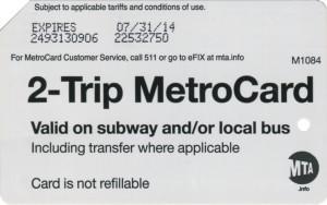 2 Trip Metrocard Bold Font