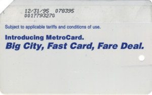 Regular Metrocard Blue 1995 Expiration Back