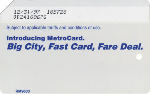 Regular Metrocard Blue 1997 Expiration Back