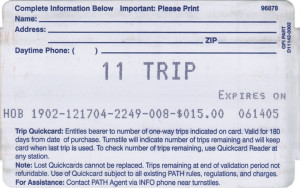 Quick Card 11-Trip Back 2nd version (front the same as for 20-Trip)