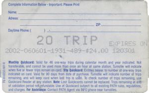 Quick Card 20-Trip Back