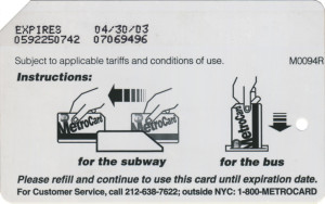 Regular Gold Metrocard 2003 Expiration Back