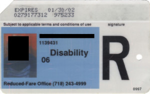Reduced Fare Metrocard for People with Disabilities Man 2002