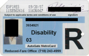 Reduced Fare Metrocard for People with Disabilities Man 2007 AutoGate