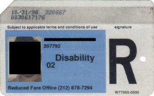 Reduced Fare Metrocard for People with Disabilities Man 1998