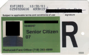 Regular Senior Citizen Reduced Fare Metrocard for Man 2001