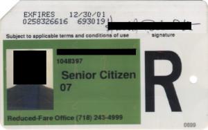 Regular Senior Citizen Reduced Fare Metrocard for Man 2001