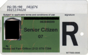 Regular Senior Citizen Reduced Fare Metrocard for Man 1998