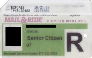 Regular Senior Citizen Reduced Fare Metrocard for Man Mail & Ride