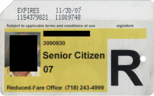 Regular Senior Citizen Reduced Fare Metrocard for Woman 2007