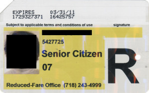 Regular Senior Citizen Reduced Fare Metrocard for Woman 2011