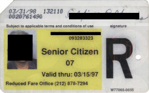 Regular Senior Citizen Reduced Fare Metrocard for Woman 1998