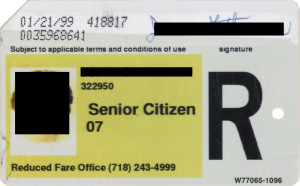 Regular Senior Citizen Reduced Fare Metrocard for Woman 1999