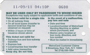 Single Ride Metrocard 2011 Back