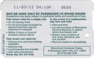 Single Ride Metrocard 2011 Back
