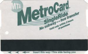 Single Ride Metrocard 1999 Front