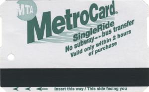 Single Ride Metrocard 2011 Front