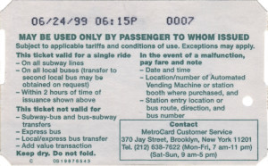Single Ride Metrocard 1999 Back