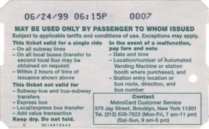 Single Ride Metrocard 1999 Back