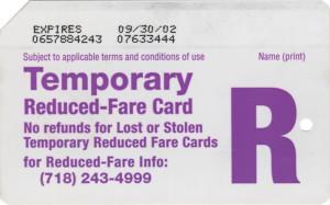 Temporary Reduced Fare 2002 Back