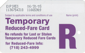 Temporary Reduced Fare 2005 Back