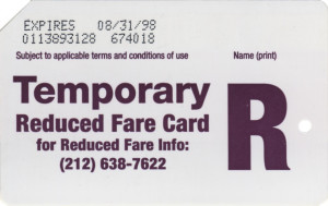 Temporary Reduced Fare 1998 Back