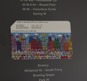 Metrocard attached to the page close-up